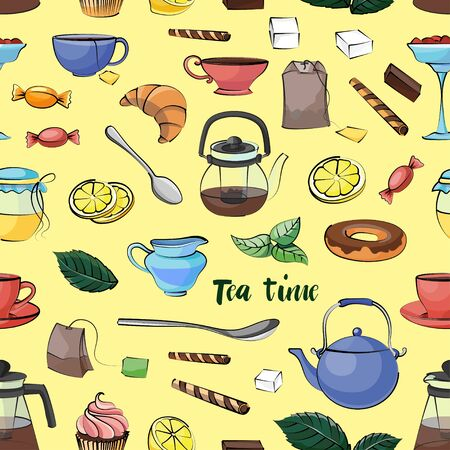 Tea Time Pattern. Hand drawn icons