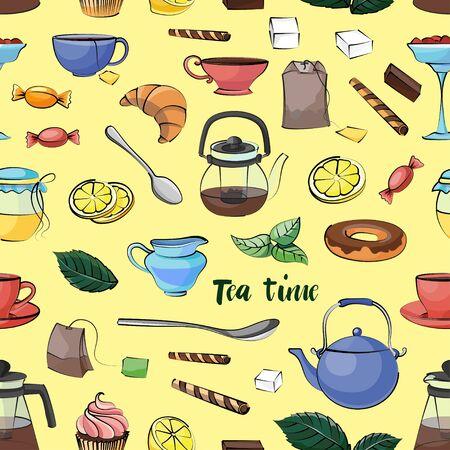 torte: Tea Time Pattern. Hand drawn icons