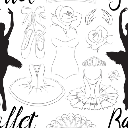 tutu: Hand drawn Ballet pattern with ballet shoes, ballet tutu, ballerina, applause. Vector ballerina isolated.