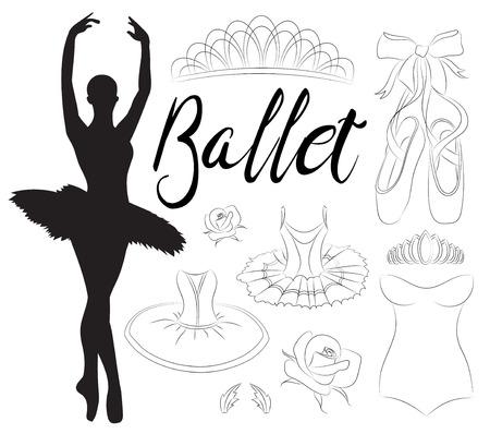 Ballet icon set with ballet shoes, ballet tutu, ballerina, applause. Vector ballerina isolated.