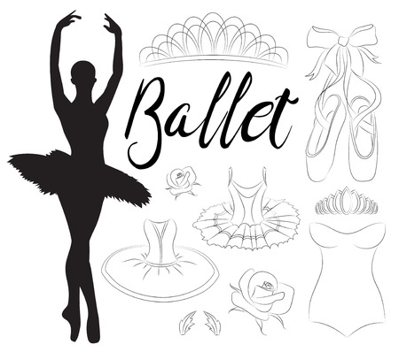 ballerina shoes: Ballet icon set with ballet shoes, ballet tutu, ballerina, applause. Vector ballerina isolated.