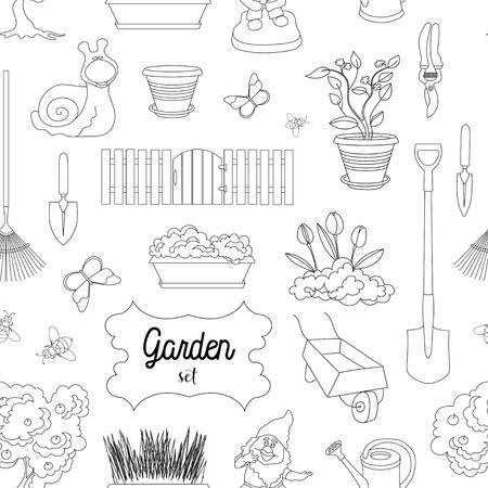 dacha: Garden set pattern. Gardening objects. Vector illustration, EPS 10