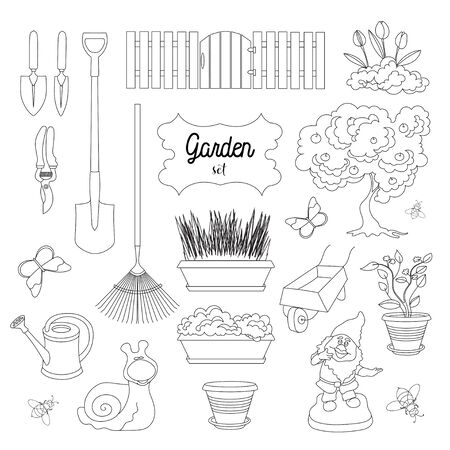 dacha: Gardening icons set. Gardening objects. Vector illustration.