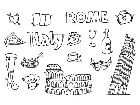 coliseum: Italy. Famous Rome landmark, food set. Italian Rome travel. Coliseum Vatican icon symbols.Travel background.