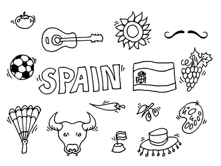 gaudi: Love Spain, doodles symbols of Spain. Vector illustration.