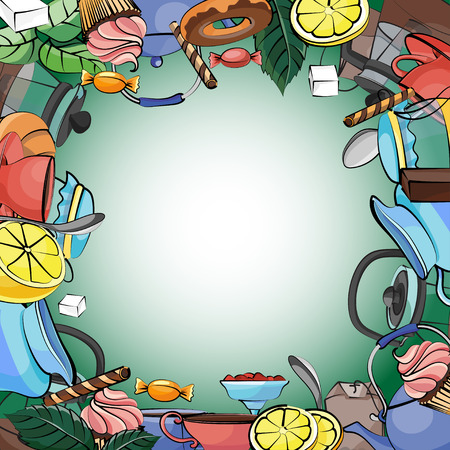 cup cakes: Vector background with tea pot, tea cup, cakes, leaves, ribbons, spoon, lemon. Elegant tea time set. Hand drawing. Illustration