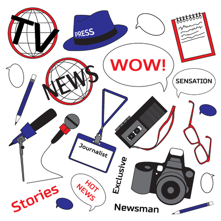 journalism: Background with journalism icons. Mass media and press conference. Journalism concept