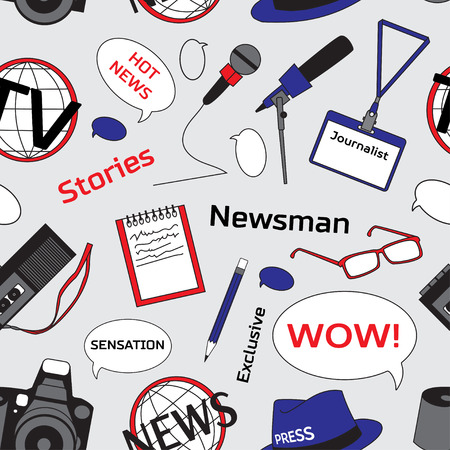 press conference: Pattern with journalism icons. Mass media and press conference. Journalism concept Illustration