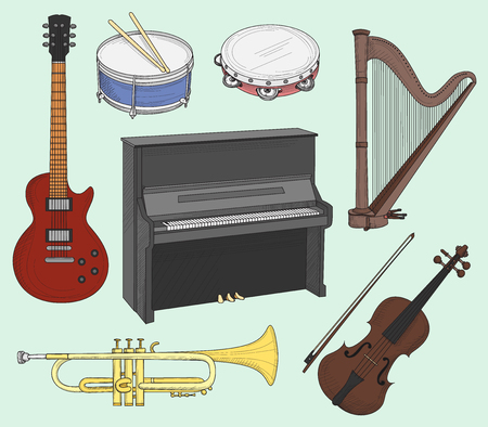 bongos: Musical instruments set. Big collection of vector music instruments. Vector illustration