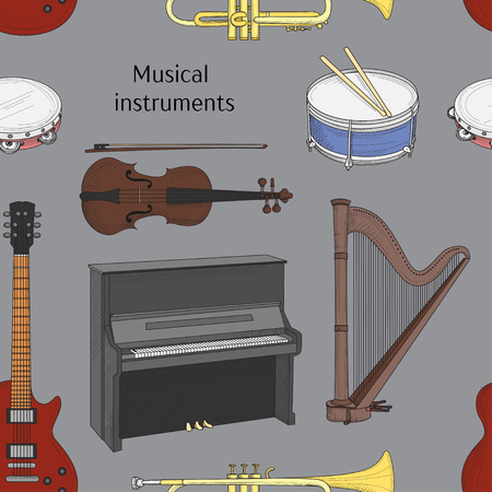 darbuka: Musical instruments pattern. Big collection of vector music instruments. Vector illustration