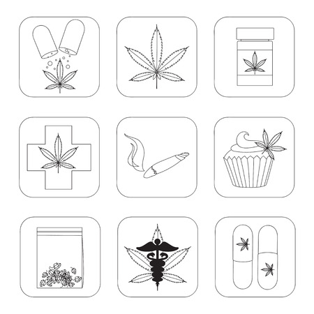 Medical marijuana set. Vector illustration Ilustração Vetorial