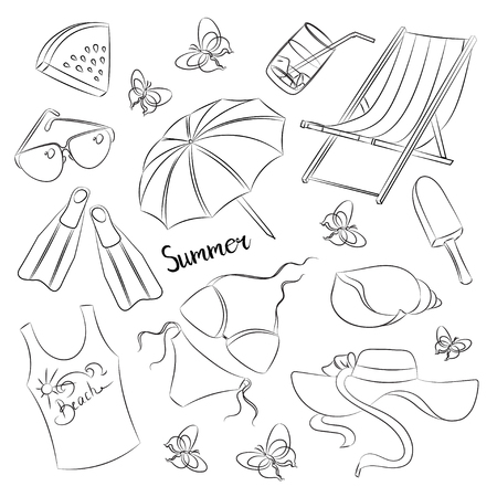 watermelon boat: Collection of summer symbols. Summer time - Sun- Beach- Sea- Rest and other.