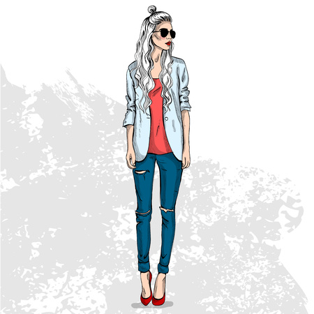 High trendy color look .Glamor stylish beautiful young woman model. Bright colorful cloth. Fashion style Illustration