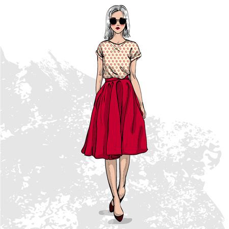Alta mirada color de moda .Glamor elegante modelo de mujer joven y bella. tela de colores brillantes. Estilo de moda Ilustración de vector