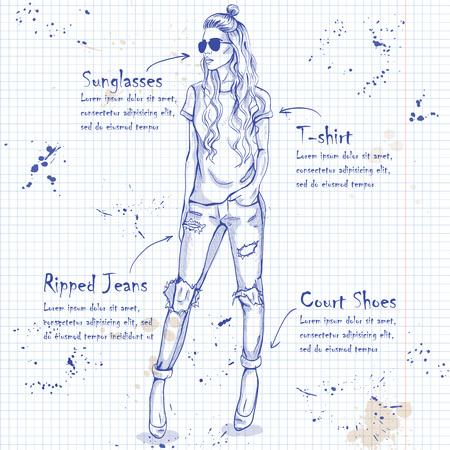 modelos posando: mirada de moda en una página del cuaderno. Glamour elegante modelo de mujer joven y bella.