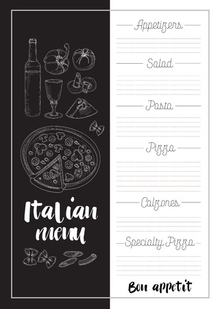 italian pasta: Italian food menu, restaurant food background with olives pasta garlic spaghetti pizza vector illustration