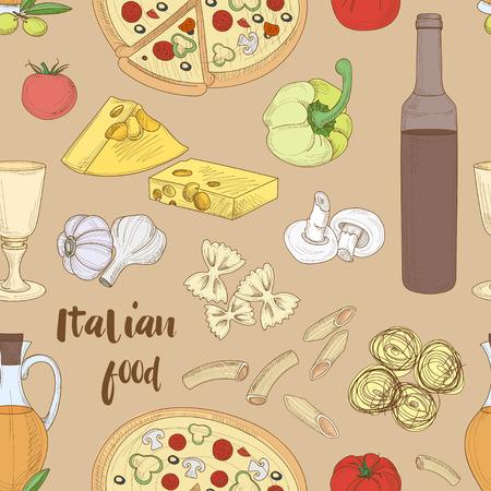 Hand drawn sketch Italian food pattern with olives pasta garlic spaghetti pizza. Vector illustration