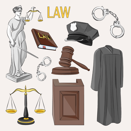 tribunal: Law icons set- Lawbook, court building, magnifier, gavel, scales, paper scroll, briefcase and other Illustration