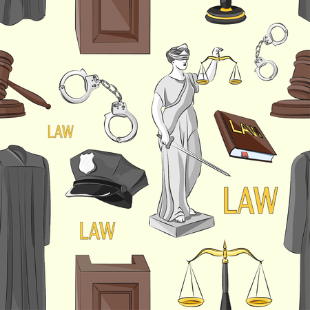 scroll of the law: Law hand drawn pattern- Lawbook, court building, magnifier, gavel, scales, paper scroll, briefcase and other