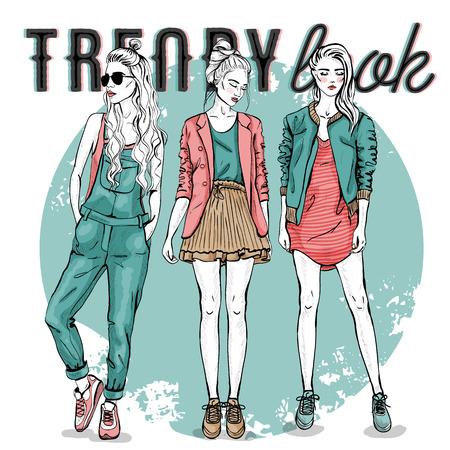 fashion set: Vector set with trendy girls. Elegant, stylized fashion models illustration