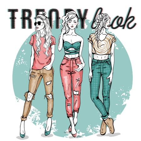 Vector set with trendy girls. Elegant, stylized fashion models illustration