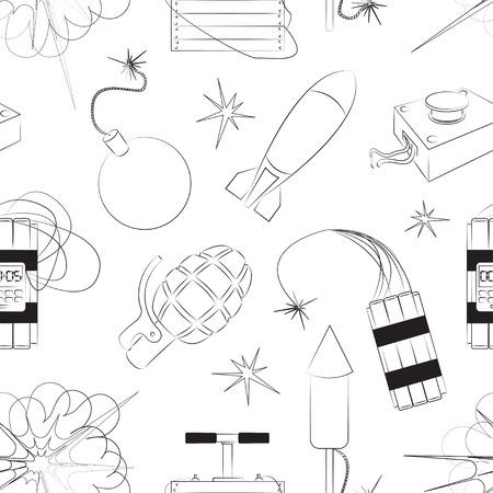 explosives: Set of bombs for your design. Explosives pattern Illustration