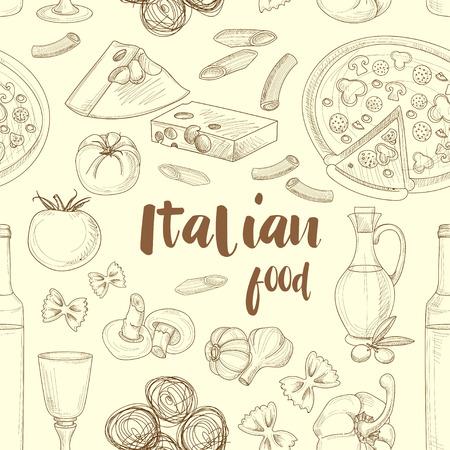 Dibujado a mano patrón de comida italiana boceto con la pizza aceitunas pasta de espaguetis ajo. ilustración vectorial