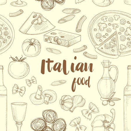 Hand drawn sketch Italian food pattern with olives pasta garlic spaghetti pizza. Vector illustration
