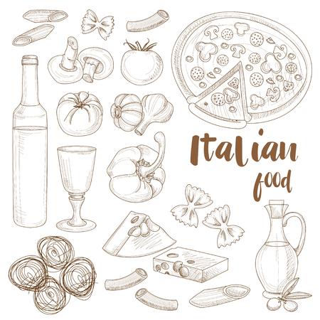 Hand drawn sketch Italian food set with olives pasta garlic spaghetti pizza. Vector illustration