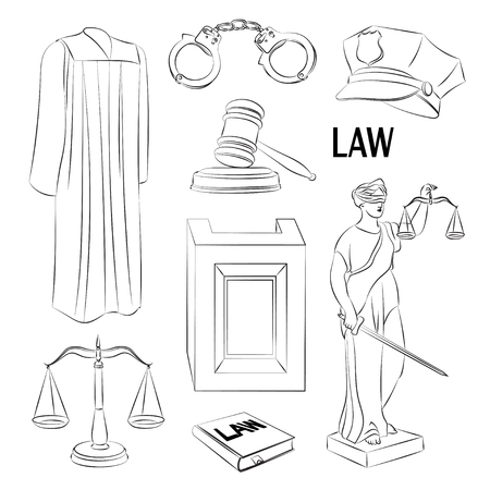 scroll of the law: Law icons set- Lawbook, court building, magnifier, gavel, scales, paper scroll, briefcase and other Illustration