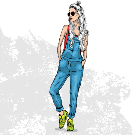 hot teenage girl: High trendy color look .Glamor stylish beautiful young woman model. Bright colorful cloth. Fashion style Illustration