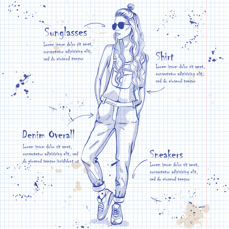 naughty woman: Trendy look on a notebook page. Glamor stylish beautiful young woman model.