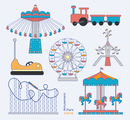 thrill: Colorful amusement park or funfair attraction icons