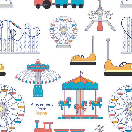 thrilling: Colorful pattern amusement park or funfair attraction icons
