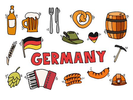 germanic people: Germany travel traditional food and attractions concept icons set. Vector illustration