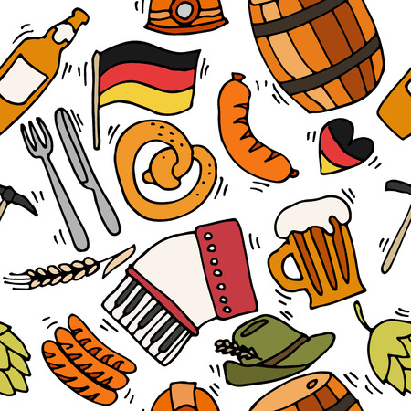 germanic people: Germany travel pattern with traditional food and attractions concept icons. Vector illustration