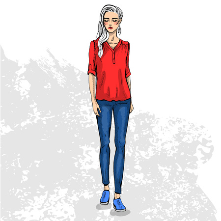 naughty woman: High trendy color look .Glamor stylish beautiful young woman model. Bright colorful cloth. Fashion style Illustration