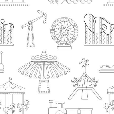 Pattern of Amusement park or funfair attraction icons. Vektorové ilustrace