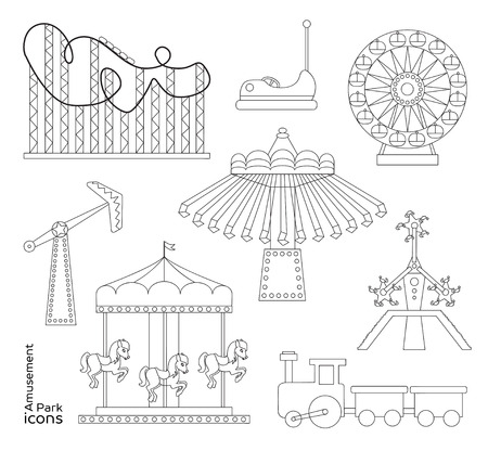 attraction: Amusement park or funfair attraction icons.
