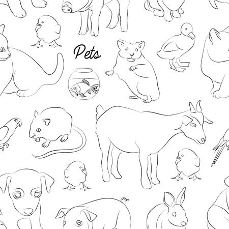 Animaux Animaux motif de vecteur. Illustrations de divers animaux domestiques - chien, chat, perroquet, poisson, porc, lapin et autres