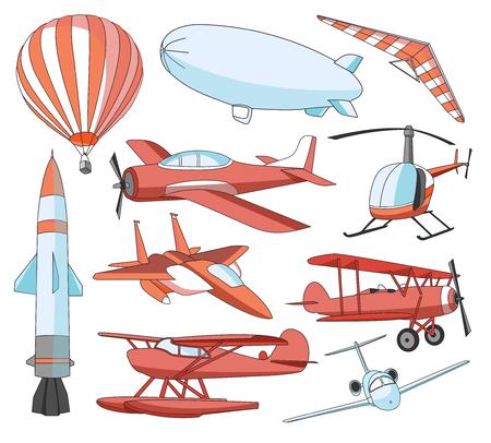 planos electricos: Aviación de conjunto de iconos. ilustraciones vectoriales, los objetos de color aislados sobre fondo blanco Vectores