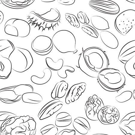almonds: Collection of different nuts pattern. Healthy nutrition and vitamin concept. Heaps of different nuts, walnuts, cashews, almonds and others isolated on white background Illustration
