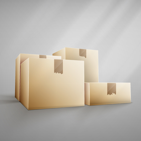 stockpile: Brown carton delivery packaging box isolated on white background vector illustration icon.  For web, banner, infographic.