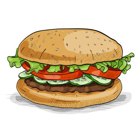 Hamburger hand drawn vector llustration realistic sketch. Burger, color picture sticker