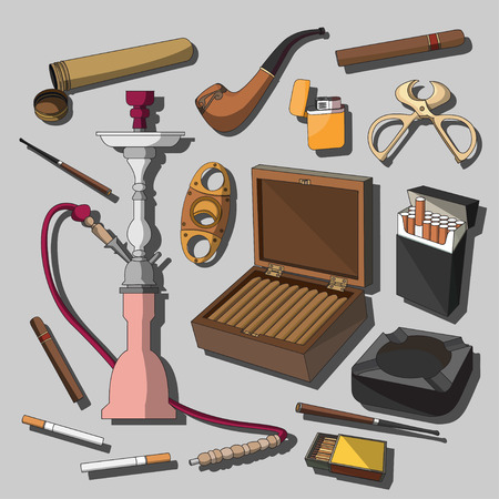 ashtray: Tobacco And Smoking Sketch Set. Hand Drawn Cigarettes, Cigars, Hookah, Matches, Tobacco Leaves, Ceremonial Pipe And Smoking Accessories