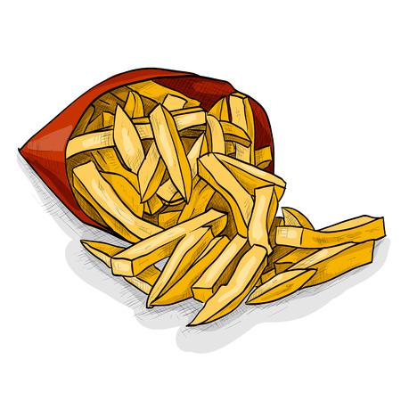 Colorful patate fritte in pacchetto. Spuntini. Fast food. illustrazione di vettore