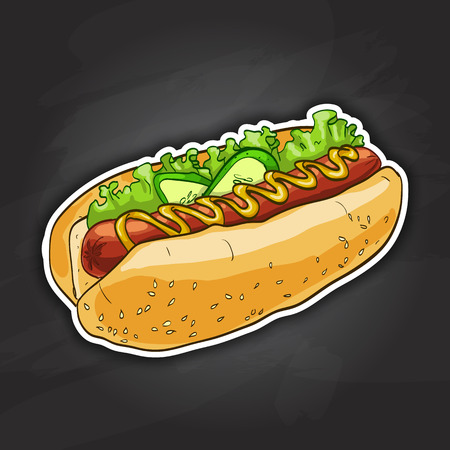 main idea: simple hot dog with ketchup and mustard and salad image isolated on a black background