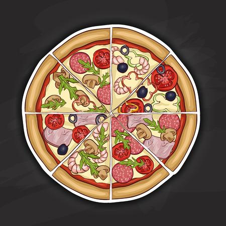 mozzarella: In the picture typical pizza with tomato, mozzarella, cheese and mushrooms. Color picture sticker. Illustration
