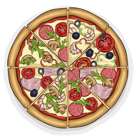 mozzarella: In the picture typical pizza with tomato, mozzarella, cheese and mushrooms. Illustration