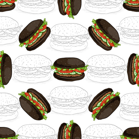 scetch: Hand drawn seamless pattern burger scetch in color.